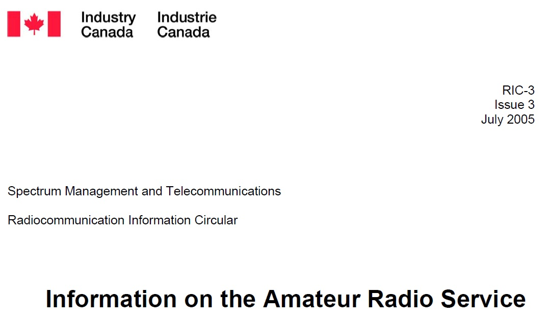 Industry canada amateur callsigns