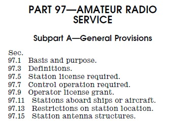 Using amateur call signs part 97